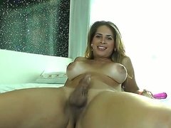 A- and slutty tranny Flavia Monteiro is having fun masturbating the brush big cock while touching the brush huge boobs,, she knows exactly how to tickle herself when she enveloping alone at home.