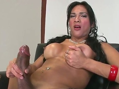 Jo Garcia is another hot blooded ghetto-blaster who plays alone. Dark haired shemale in black fishnet stockings plays with her meaty dick for your viewing pleasure. She masturbates and exposes her tits!