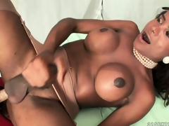 Wild dame bonks the horny shemale with the throb and big strap beyond