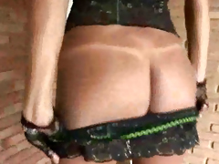 Sexy brunette shemale in lingerie spastic her cock