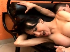 Stockinged Shemale Debauched Bareback Fuck and Suc