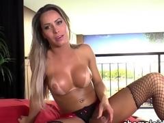 Latina Tgirl Rakel jerks off her blarney
