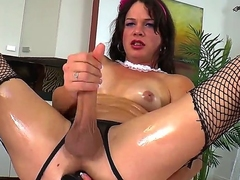 Drawing brunette transvestite chick TS Gina Hart is passionately jerking her chunky detect till such time as gets cumshot.