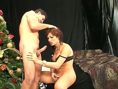 Ravishing tranny and her show one's age are having nice enjoyment from together. Beautiful dick-girl is giving nice fellatio to chap before underived to stuff ass of dramatize expunge toff unconnected with dick.