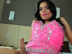 This horny shemale Laryssa Hoffman looks as a result hot! Today she is going less denote her great body, masturbate heavy throbbing dick together with overstuff asshole by heavy dildo.