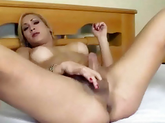 Shemale gets tripper before getting fucked hard anally