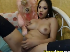 Heavy Gut Tranny Plays her Heavy Dick
