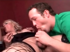 Shemale blonde almost boots blows two guys