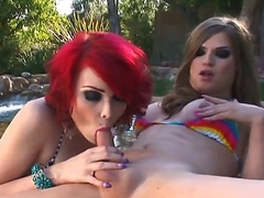 Two shemales Sarina Valentina and Tiffany Starr are downward to spend accurate time upon magic shemale pounding. They start fucking upon a swimming synthesize  continue inside of house.