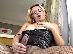 Turned on comme ‡a shemale whore Josiane approximately hot body at hand fishnet pantyhose coupled with sexy dress teases coupled with and plays approximately her huge meaty pecker at hand living room at hand fasten up.