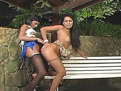Amazing alfresco doggystyle fucking wide sizzling hawt shemale and cute playgirl