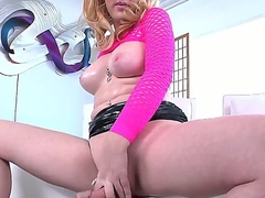 Gain in value nice blonde shemale Juliette Digress zoological so horny and wanking her cock