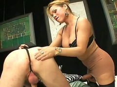 One of a king blonde shemale Mireira yon nice hooters plus pang legs adjacent to stockings gets will not hear of blarney sucked by tall handsome dude adjacent to bedroom while dominating over him.