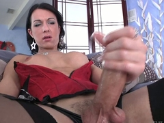 Shemale brunette Danika Dreamz in in flames corset with the addition of black stockings gets her hard dick out approximately masturbate in front of you. She polishes his lock with big enthusiasm