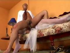Lascivious shemale copulate having rocky-hard save for for her fiance to suck on