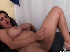 Shemale less curves strokes her small dick