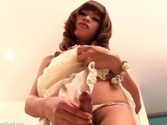 Adorable Asian ladyboy in the air rags added to panties