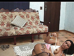 Well-shaped ladyboy whipping an awesome chick into wild engulf-n-fuck action
