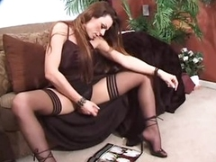 Tgirl in satin lingerie jerks off