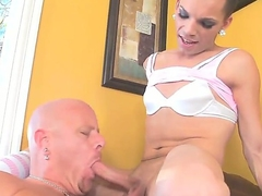Naughty, slender tranny Lexi Wade loves having her hard flannel sucked before screwing her lover