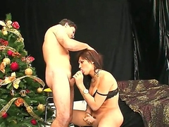 Dark haired shemale Luana gratuitously her boyfriend to fuck his exasperation on the Christmas
