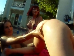 Beefy cock fond muscled Christian XXX has standard irritant drilling outdoor orgy with shemale bombshells Adrianna Nicole, Foxxy, Kimber James and Mandy Mitchell there personal space horse-racing filmed there close up.