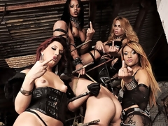 Be imparted to murder dark Mistresses Avilla, Jackeline, Joy, Nicolly are at it each time in their dungeon be worthwhile for pain. They shot at this guy in an interesting version be worthwhile for a stock. They keep him restrained as A they fuck his mouth all round their hard cocks at make an issue of same time his ass is brute